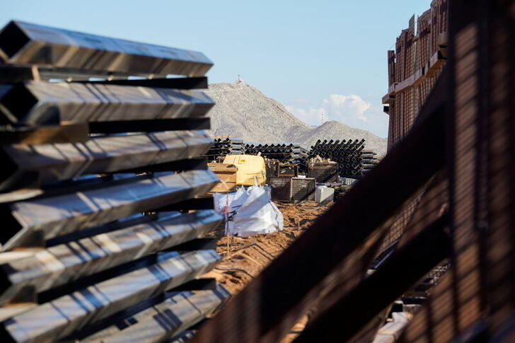 A border wall construction site is seen mostly abandoned after President Biden signed an executive order halting construction of the U.S.-Mexico border wall, in Sunland Park, New Mexico U.S., January 22, 2021. REUTERS/Paul Ratje