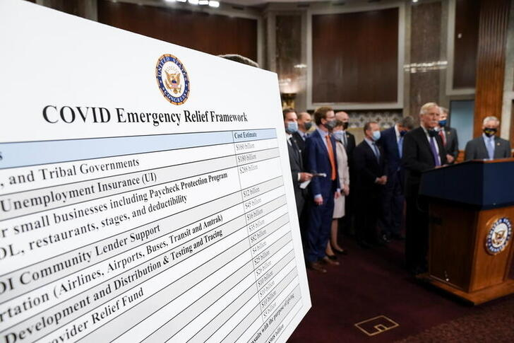 A display is seen as members of the Senate and House gather to announce a framework for fresh coronavirus disease  relief legislation at a news conference on Capitol Hill, December 1, 2020. REUTERS/Kevin Lamarque